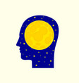 moon in human head icon vector image
