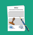 mou memorandum document vector image vector image