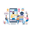 online webinar banner - cartoon man on phone vector image