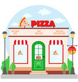 pizza restaurant facade with signboard flat style vector image