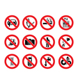Prohibition signs icon vector image vector image
