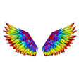 rainbow polygonal wings vector image vector image