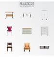 realistic comfortable wardrobe stool and other vector image vector image