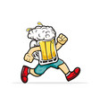 run beer cartoon mascot for any beverage business vector image vector image
