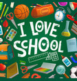 school supplies student book bag on blackboard vector image vector image