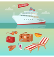Sea Holidays Concept with Cruise Ship vector image vector image