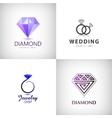 set jewellery logos ring wedding vector image vector image