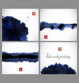 set of blue ink wash painting textures on white vector image