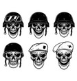 set of soldier skulls in paratrooper beret vector image