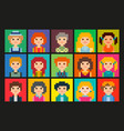 set of square pixel avatars vector image