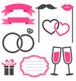 set of wedding elements isolated on white vector image vector image