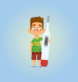 sick boy with thermometer vector image vector image