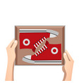 sneakers with box vector image vector image