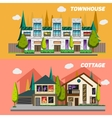 Street with townhouses and country houses Set of vector image