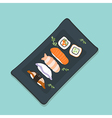 Sushi Set sashimi and sushi rolls vector image