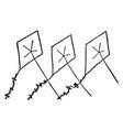 three kites vintage vector image vector image