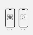 touch id and face id on mobile device icon vector image vector image