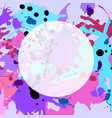 turquoise purple pink ink splashes round frame vector image vector image