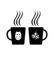 two cartoon cups with hot drink hygge vector image