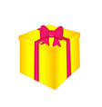 yellow gift with a pink bow vector image