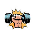 arm with dumbbell gym club logo vector image vector image
