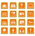 audio and video icons set orange vector image