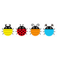 beetle lady bug set line insect animal collection vector image