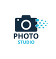 black and blue icon for photographer camera icon vector image vector image