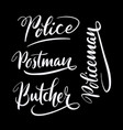 butcher and police hand written typography vector image