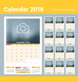 calendar planner template for 2018 year design vector image vector image