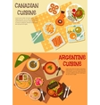 Canadian and argentine dishes for picnic icon vector image vector image