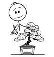 cartoon man pruning bonsai tree vector image vector image