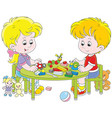 children making plasticine toys vector image vector image