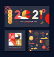 chinese new year 2021 ox gold pattern card set vector image vector image