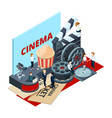cinema isometric film production and vector image vector image