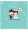 Cute cartoon Wedding couple men and women vector image vector image
