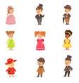cute children in elegant festive clothes kids in vector image