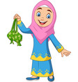 cute muslim girl holding a ketupat vector image vector image