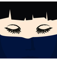 Face of a Young Girl under Dark Blue Veil vector image