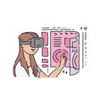 flat young girl in virtual reality vector image
