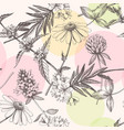 hand drawn meadow flowers seamless pattern vector image vector image