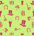 hand drawn seamless pattern with leprechaun vector image vector image