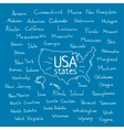 handwritten usa states vector image
