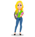 happy student with books and backpack vector image vector image