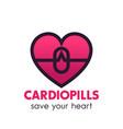 heart pills logo pharmacy medicine symbol vector image vector image