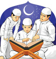 Kids Learn to Read Al Quran with Their Father vector image