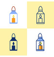 lantern with burning candle icon set in flat and vector image