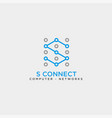letter s digital technology network logo template vector image vector image