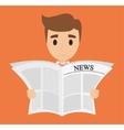 Man reading newspaper design vector image