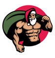 muscular santa claus bring a bag full of vector image vector image